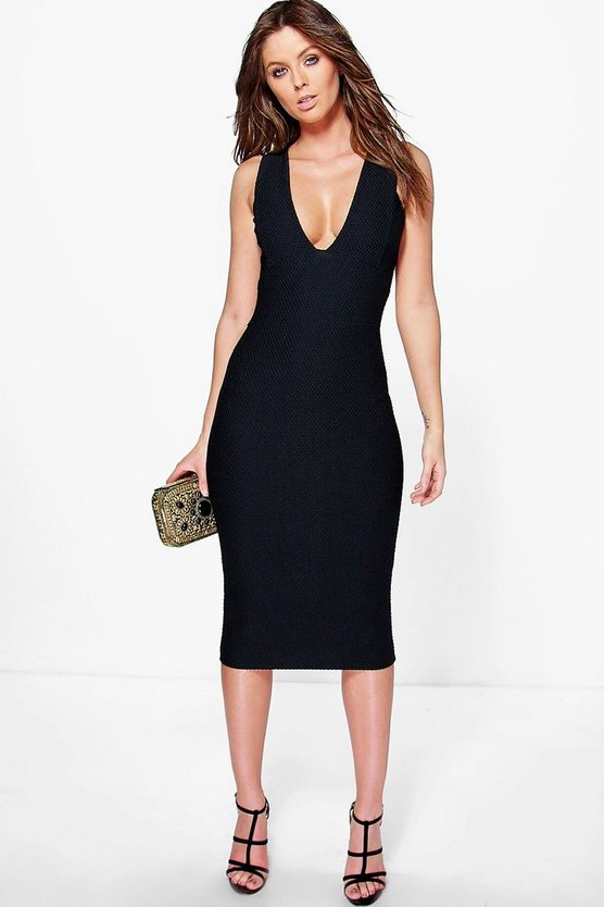 Lya Textured Plunge Neck Midi Bodycon Dress
