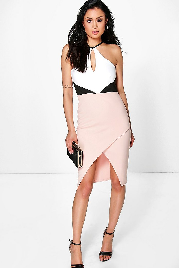 Cleopatra Colour Block Keyhole Midi Dress