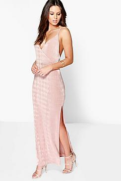 Lacy Strappy Drape Front Thigh Split Maxi Dress