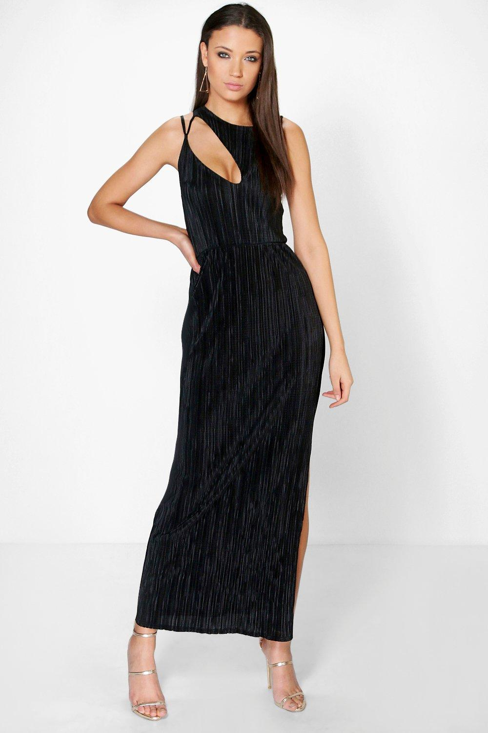 Kit Pleated Cut Out Detail Thigh Split Maxi Dress