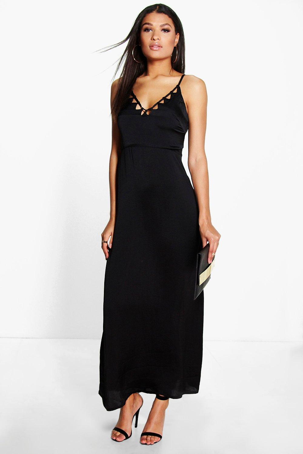Samara Satin Stappy Cut Out Neckline Maxi Dress