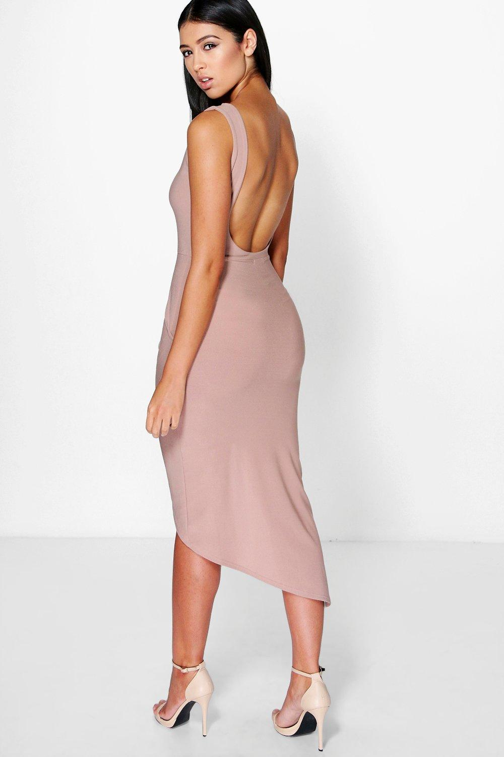 Anny Scoop Back Ruched Wrap Skirt Midi Dress