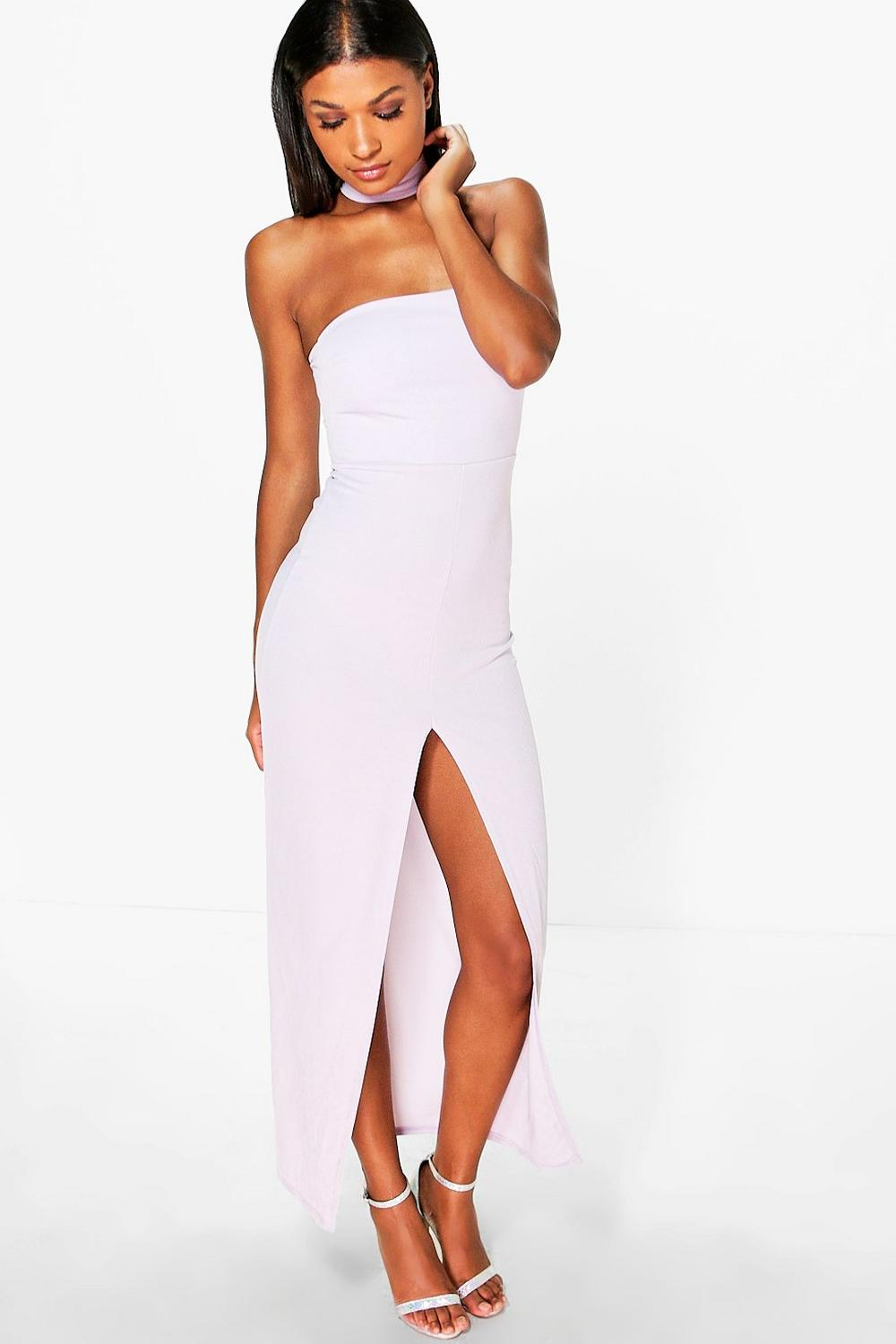 Hannia Choker Neck Bandeau Maxi Dress