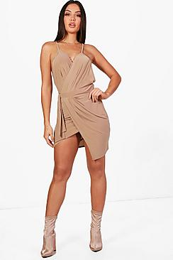 Asia Slinky Wrap Tie Detail Bodycon Dress