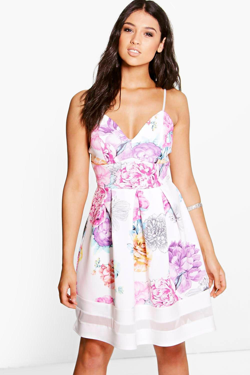 Aurelia Floral Sweetheart Strappy Skater Dress