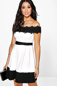 Gia Lace Off The Shoulder Contrast Skater Dress