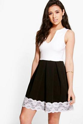 Acacia Lace Hem Contrast Skater Dress