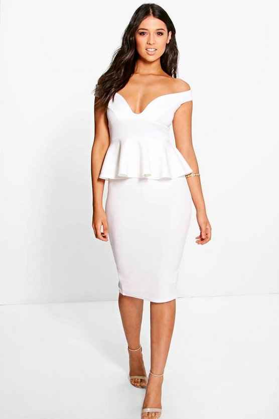Dot Sweetheart Off The Shoulder Peplum Midi Dress