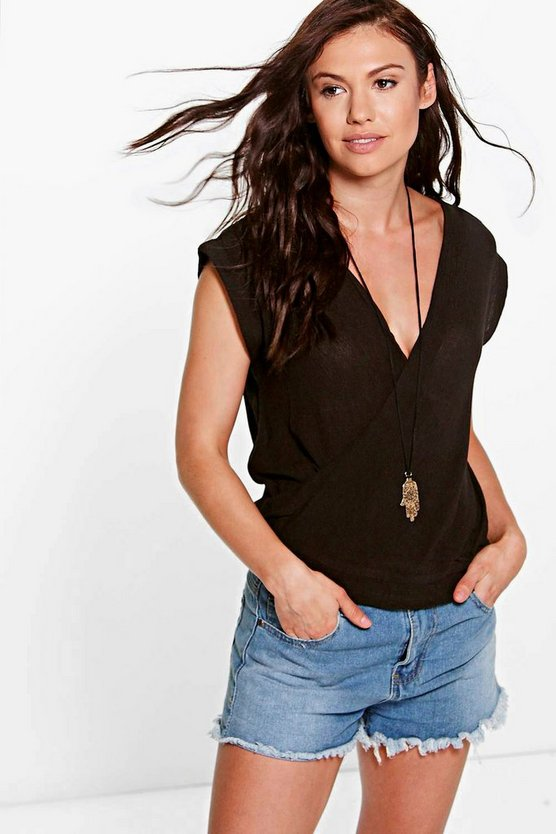 Sofia Woven Wrap Front Top