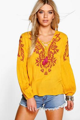 Emma Embroidered Wide Sleeve Top