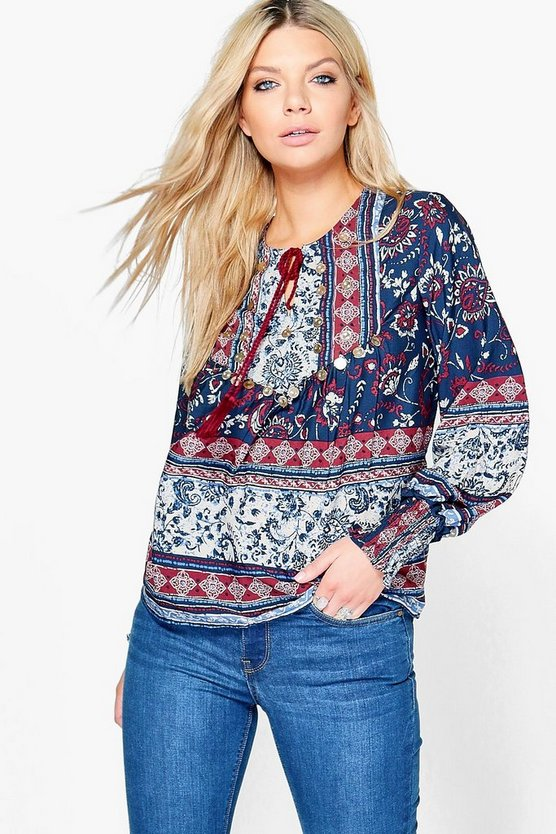 Kayla Tassel Printed Tunic Top