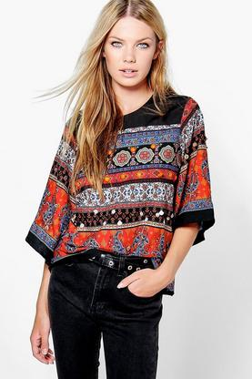 Lydia Boutique Embellished Wide Sleeve Top