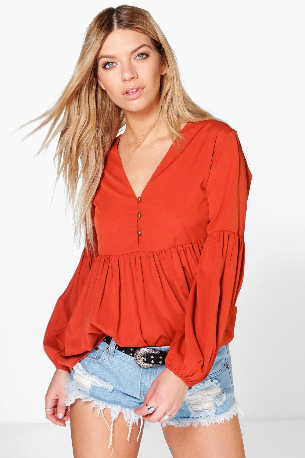 Katie Woven Big Sleeve Tunic Top