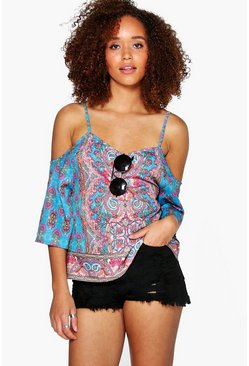 Eva Border Print Cold Shoulder Top