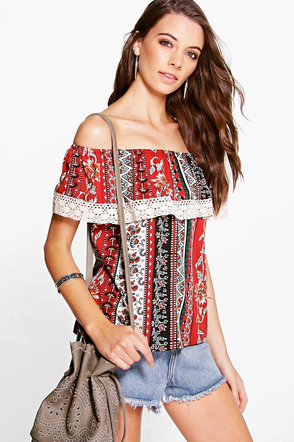 Lucy Woven Crochet Trim Off The Shoulder Top