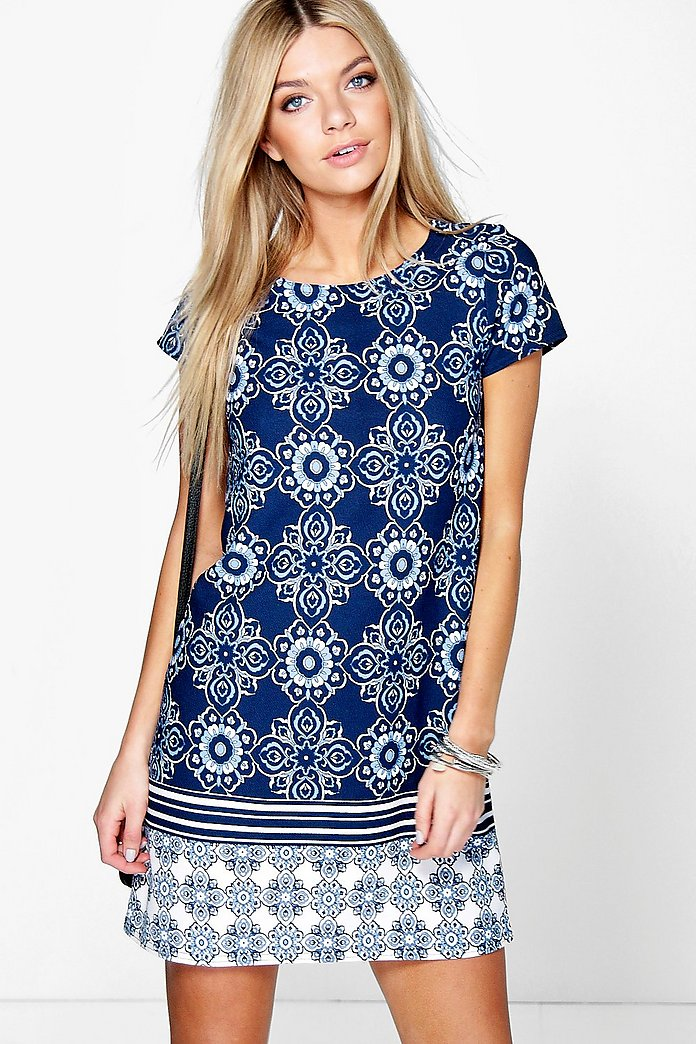 Ella Border Print Paisley Shift Dress