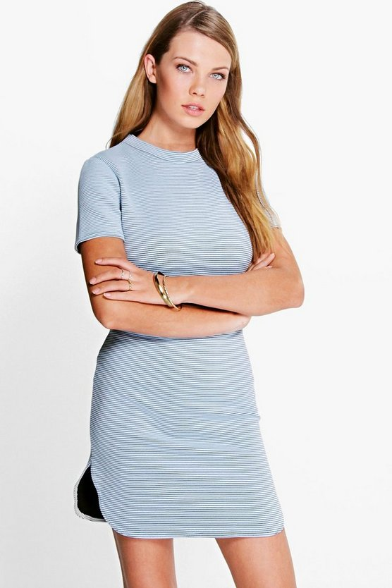 Carrie Curved Hem Bodycon Dress