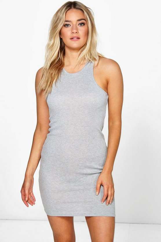 Nina Sleeveless Rib Basic Bodycon Dress