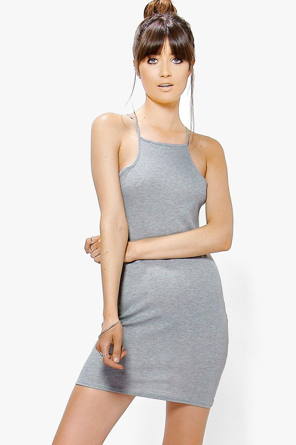 Beatrice Strappy Rib Basic Bodycon Dress