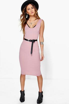 Ava Scoop Neck Midi Bodycon Dress