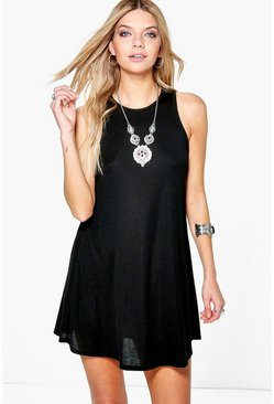 Sandra Ribbed High Neck Swing Dress