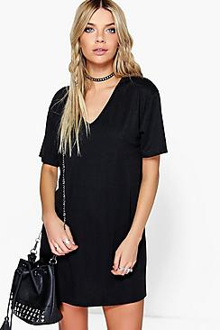 Janie Mini V Neck Ribbed Dress