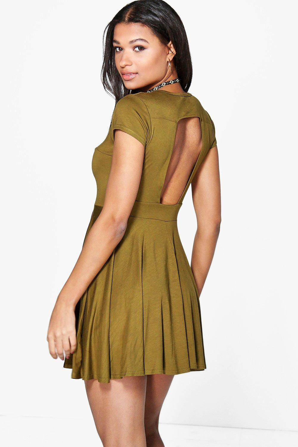 Valerie Cut Out Back Skater Dress