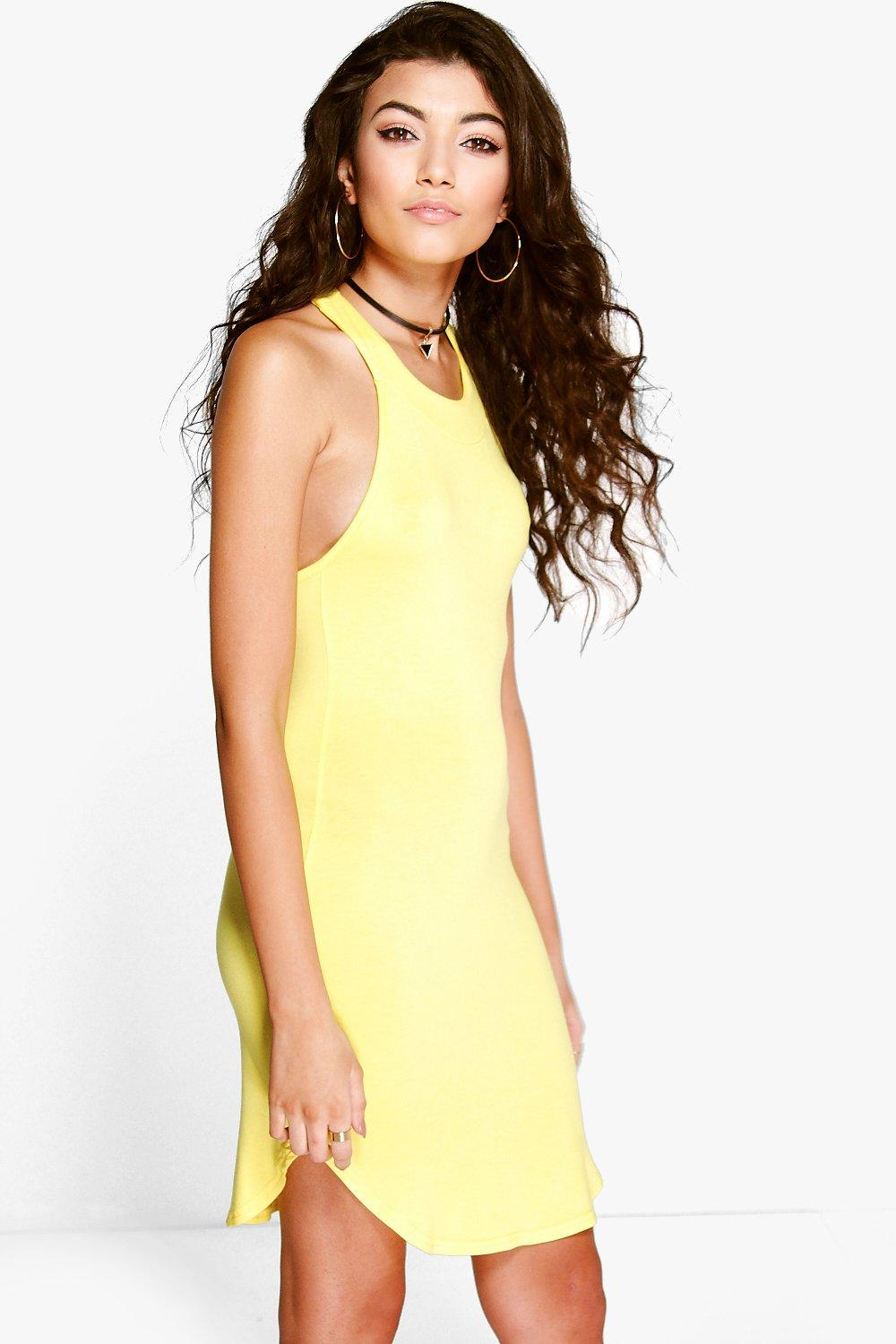 Marianne Racer Back Curved Hem Shift Dress