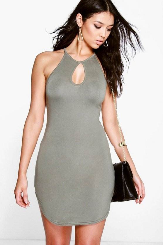 Jen Cut Out Sleeveless Curved Hem Bodycon Dress