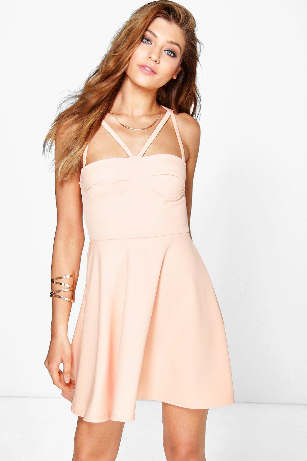 Marimo Strappy Bodice Skater Dress