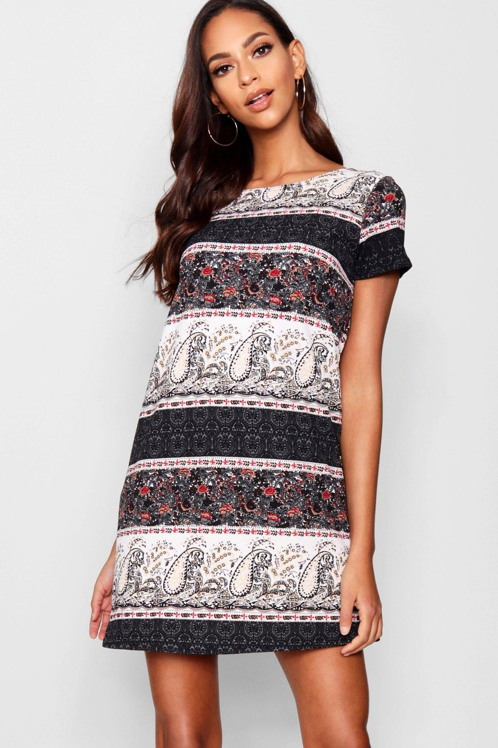 Freya Border Print Paisley Shift Dress