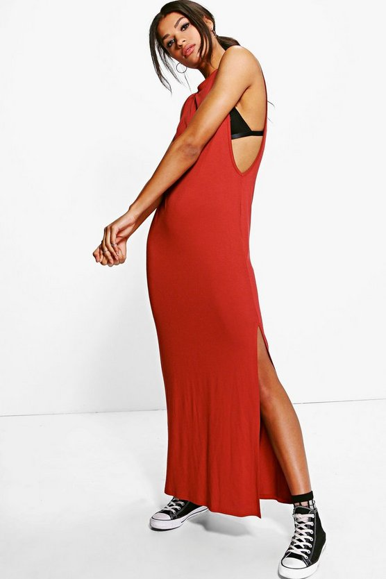 Halliee Drop Arm Split Side Maxi Dress