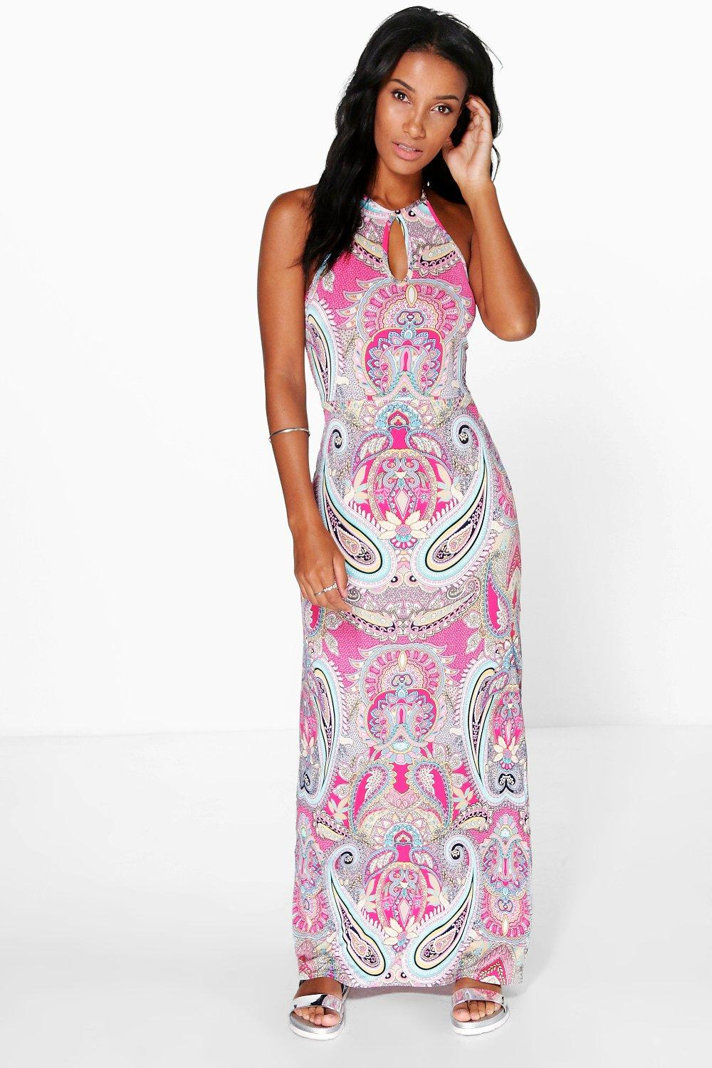 Amy Paisley Keyhole Maxi Dress