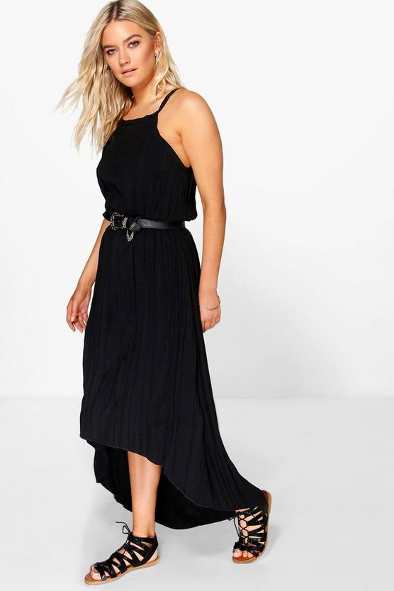 Arabella Pleated Maxi Dipped Hem Dress