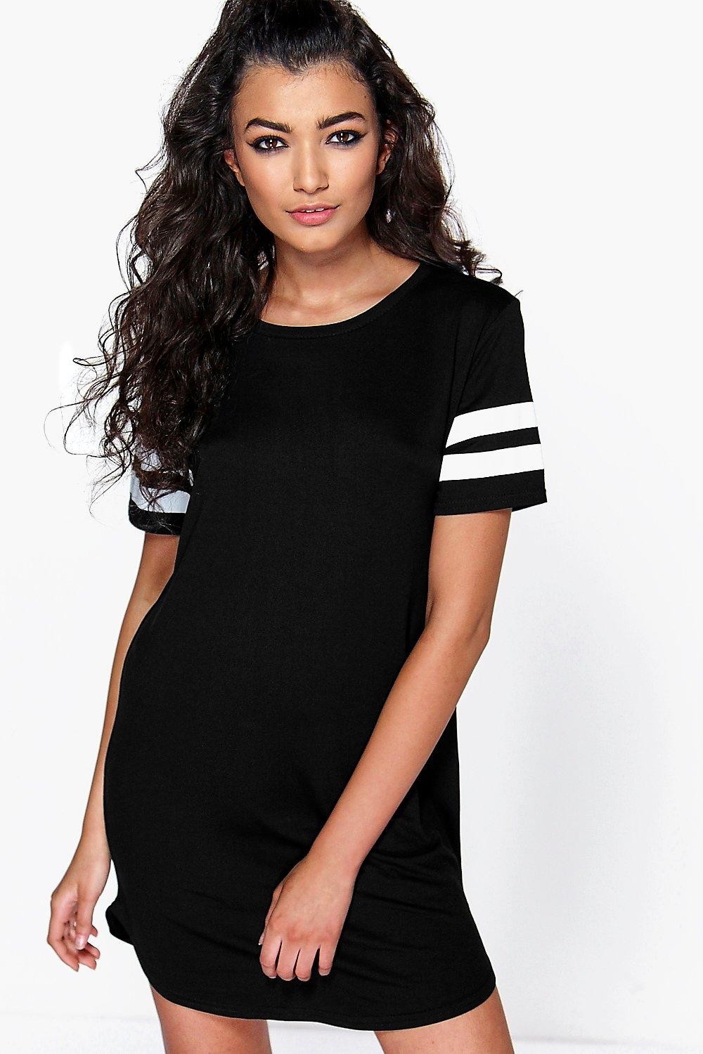 Kimmie Baseball Stripe Curved Hem Shift Dress