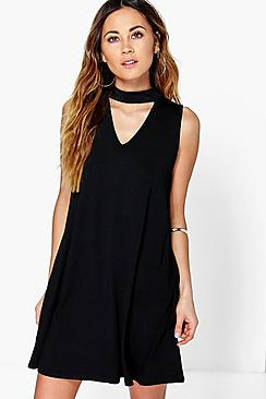 Aria Plunge Choker Shift Dress