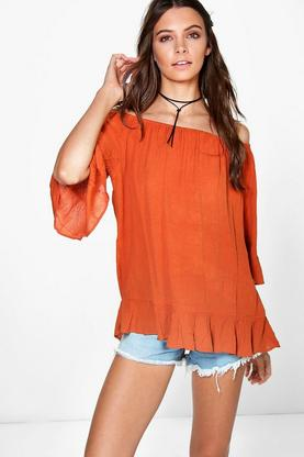 Daisy Woven Frill Hem Off The Shoulder Top