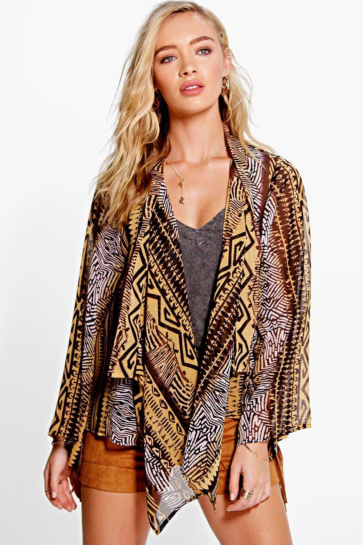 Mixed Print Woven Kimono multi
