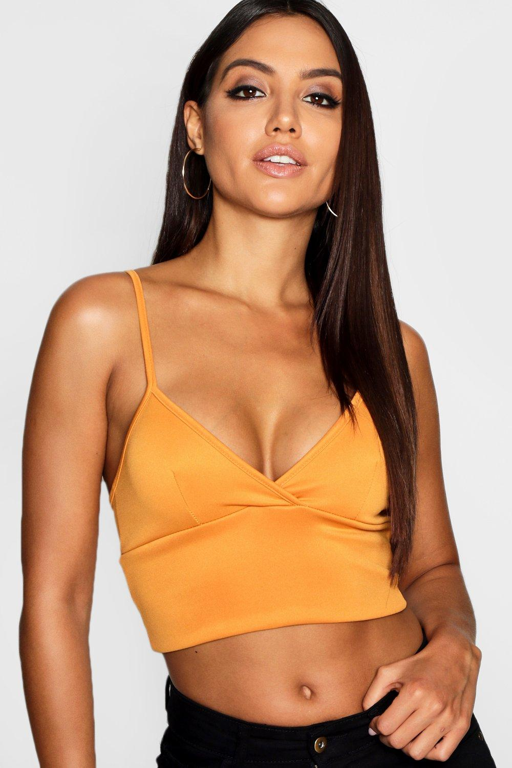 Womens Scuba Plunge Cross Bralet - Yellow
