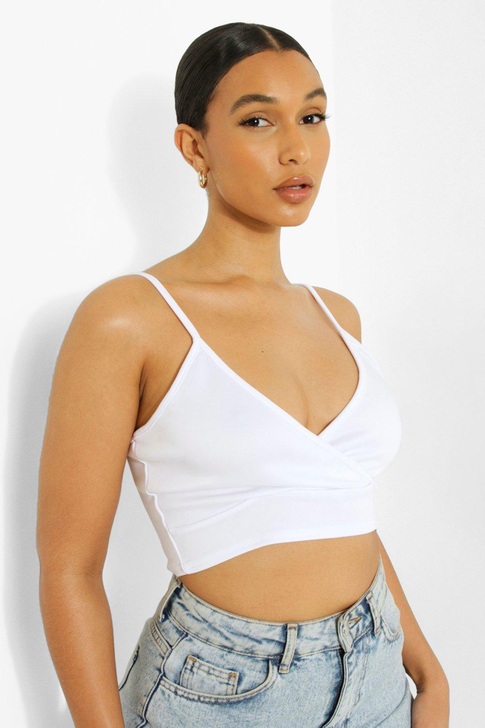 Womens Scuba Plunge Cross Bralet - White