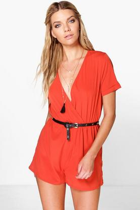 Emma Wrap Front Solid Colour Playsuit