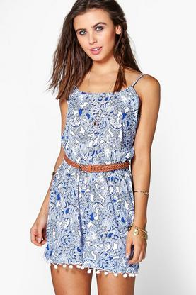 Erin Blue Print Strappy Pom Pom Trim Playsuit