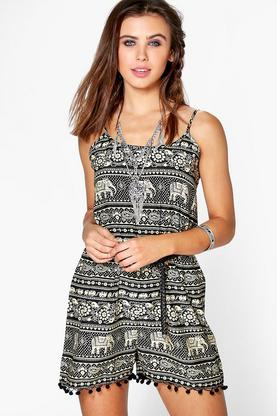 Eva Elephant Print Pom Pom Trim Strappy Playsuit