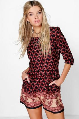 Ruby Border Print 3/4 Sleeve Playsuit