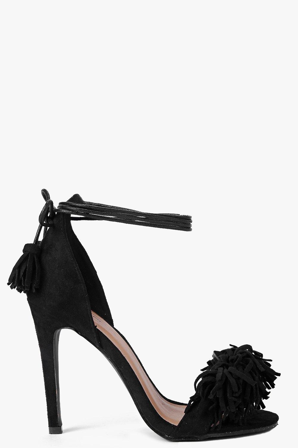Fringe Trim Two Part Heels black