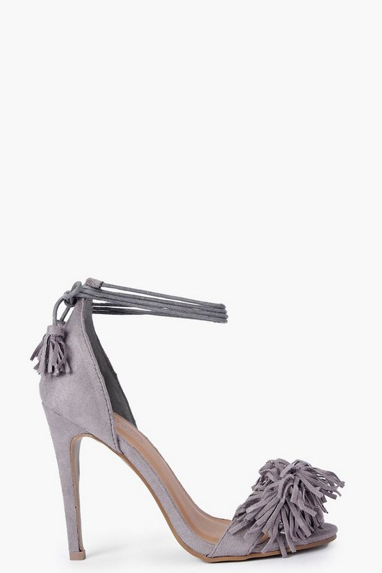 Megan Fringe Trim Two Part Heels