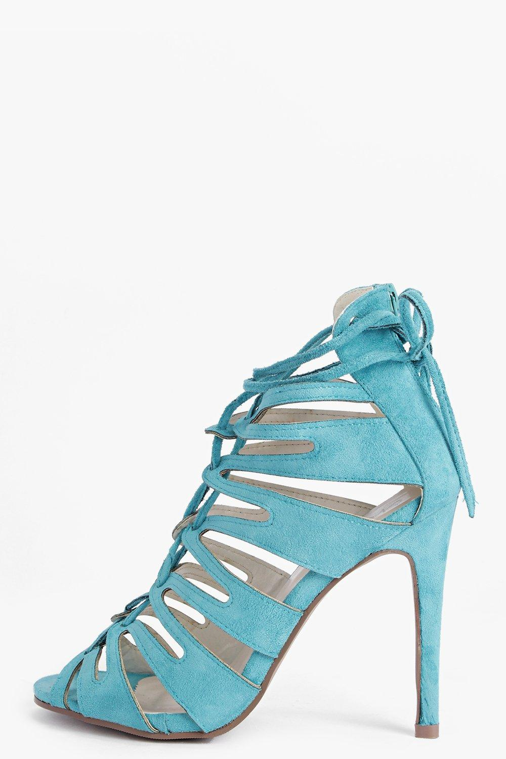 Lacey Suedette Cut Away Cage Heels