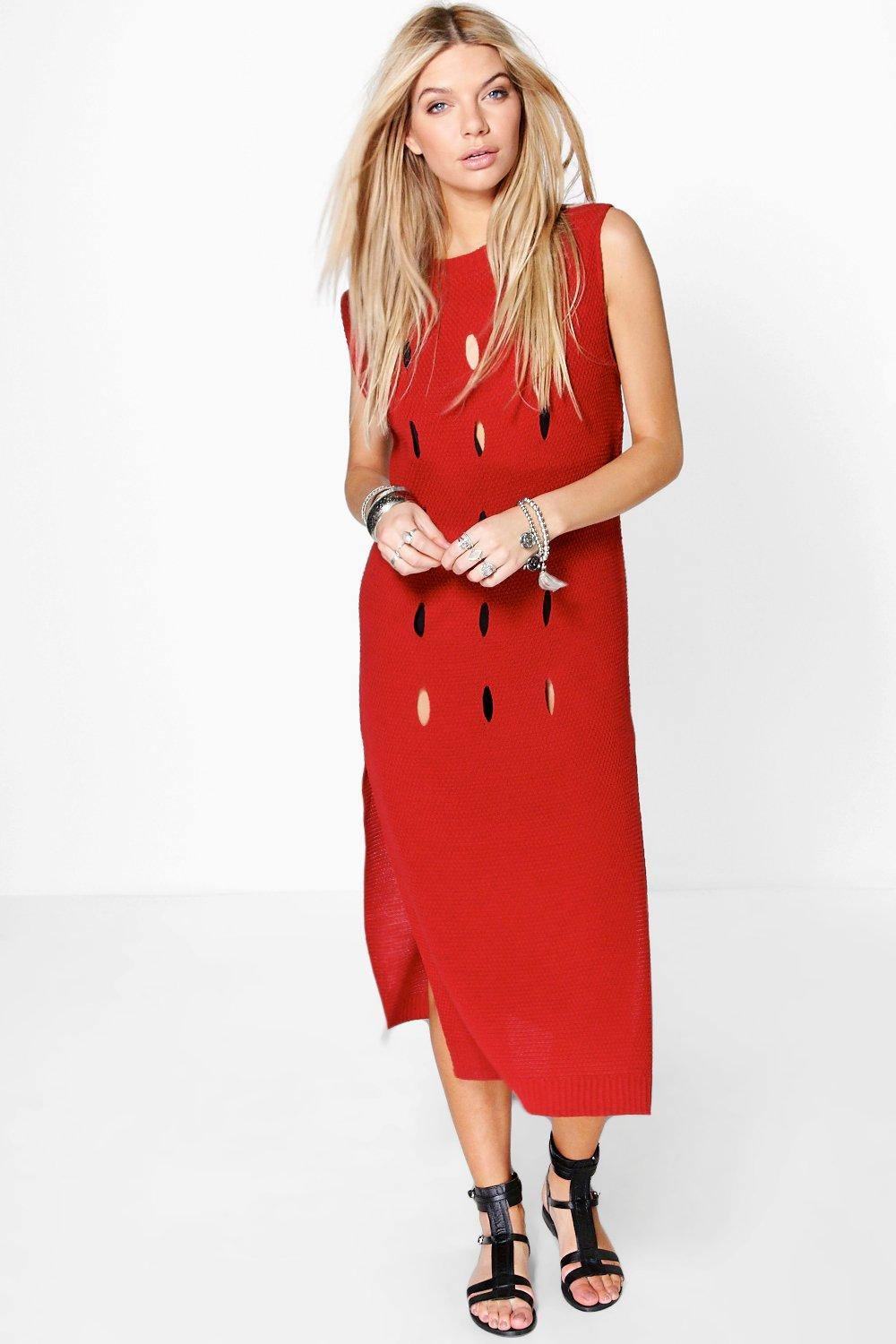 Tara Hole Detail Sleeveless Midi Dress