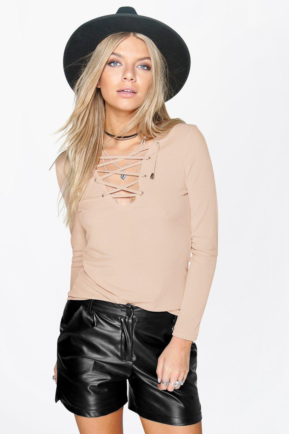 Millie Ribbed Lace Up Long Sleeve Top