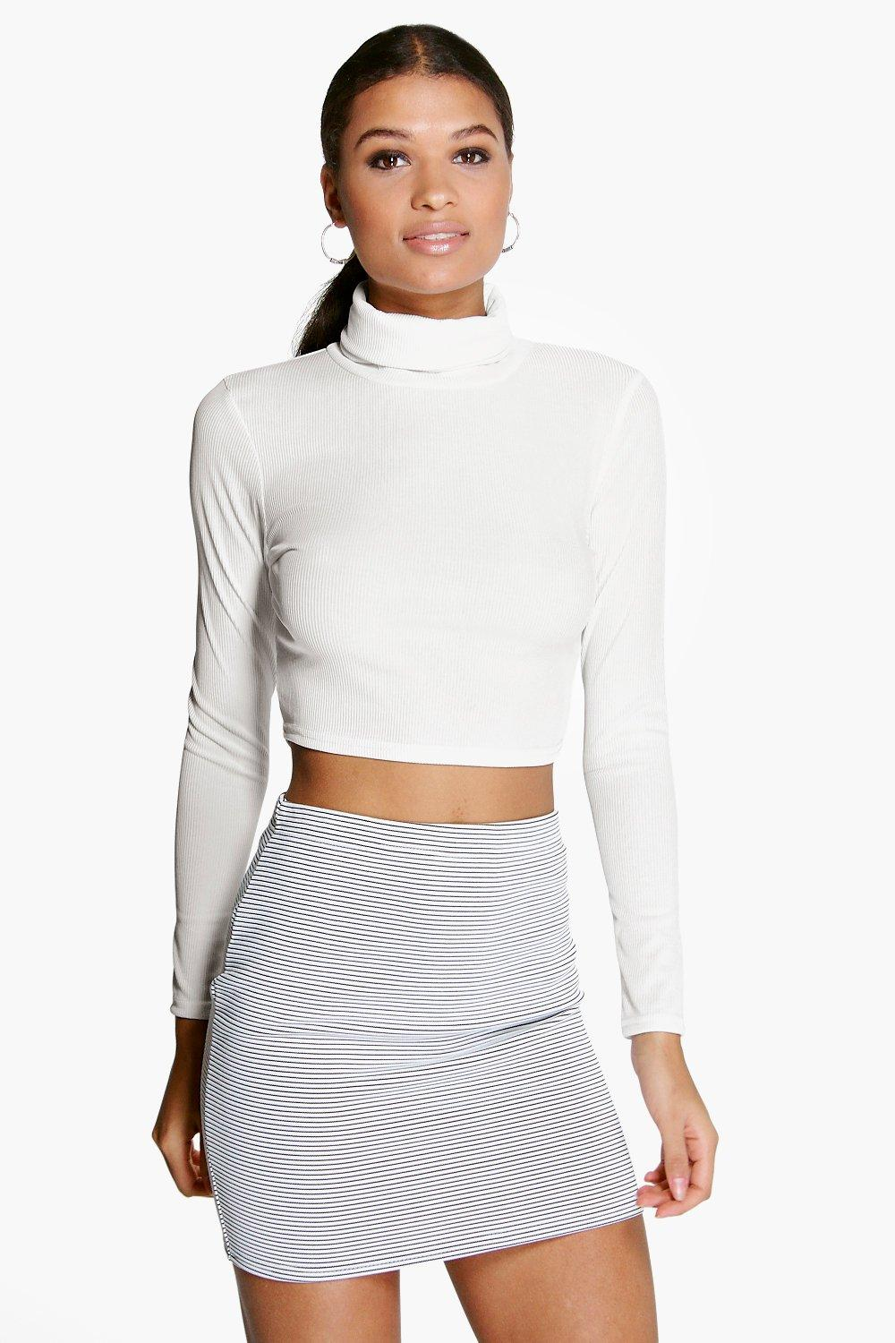 Roll Neck Long Sleeved Rib Crop Top cream